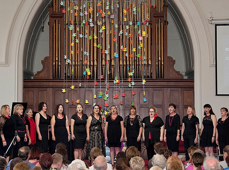 The Waratah Ensemble singing on stage at Adamstown Uniting Church