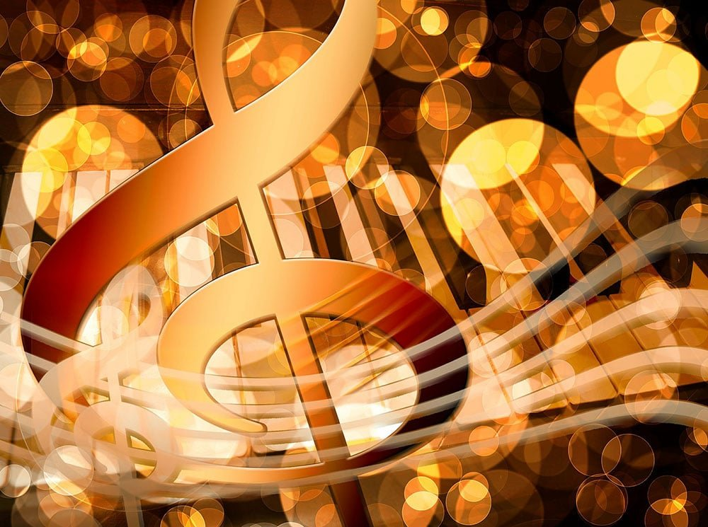 Music notes graphic with piano keys in background