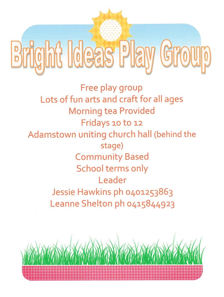 Bright Ideas Playgroup flier