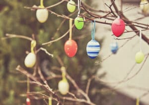 Easter eggs hanging from a tree