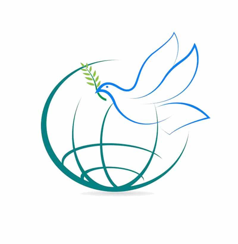 Globe with peace dove