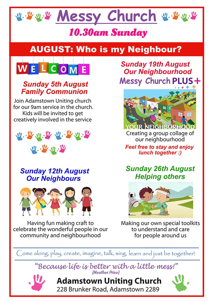 Messy Church August 2018 flier