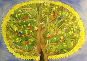 Tree illustration with children playing musical instruments in branches
