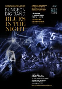 Dungeon Big Band event poster with moody blue background image of jazz musicians and microphone