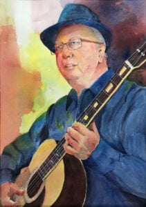 Portrait painting of guitarist Keith Shortland by Yvonne Barnett
