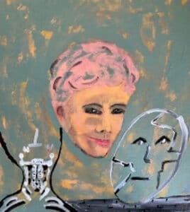 Portrait painting of a smiling woman with pink hair