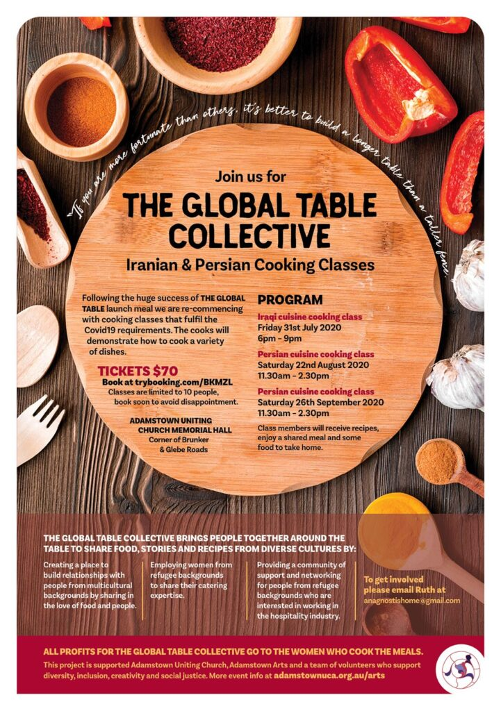 Wooden table with spices and cooking class information