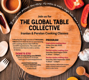 Wooden table with spices and cooking class program dates