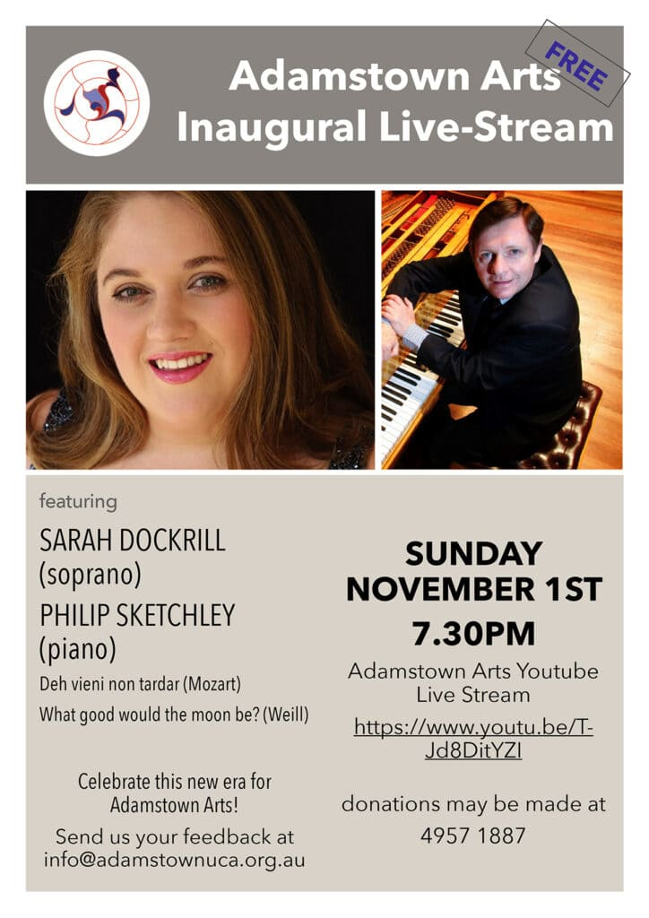 Event poster – photo of performers – soprano Sarah Dockrill and pianist Philip Sketchley