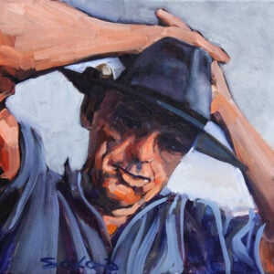 Painting of older man wearing a wide brimmed hat with hands crossed on top of head. Close crop of head and top of arms only.
