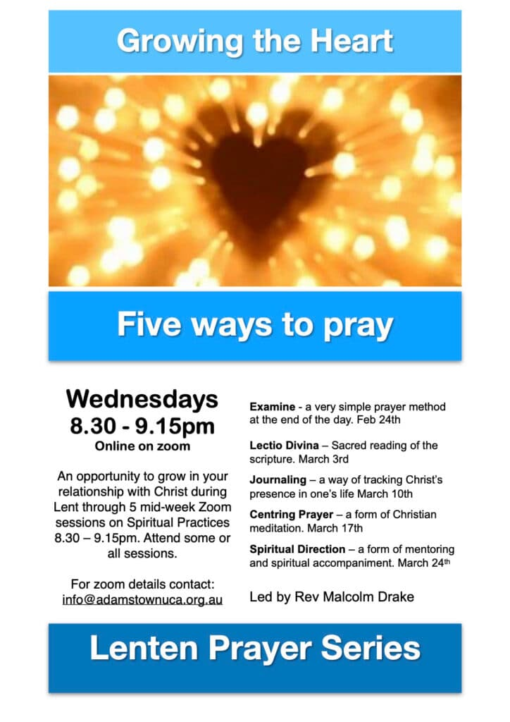Five ways to pray poster with glowing golden heart