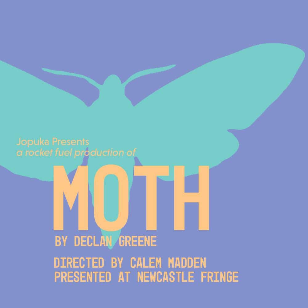 Moth poster with shape of a moth in teal on a purple background.