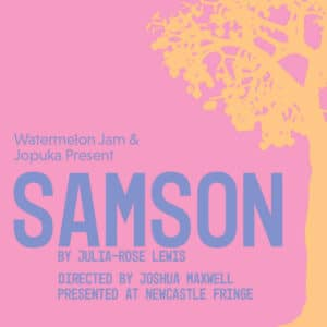 Samson poster – orange tree silhouette on pink background.