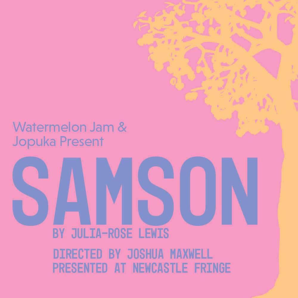 Samson poster – orange tree silhouette on pink background.