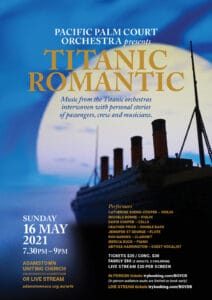 Titanic concert poster with silhouette of ship and large moon in background