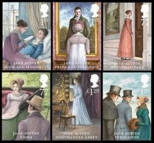 Jane Austen depicted on stamps