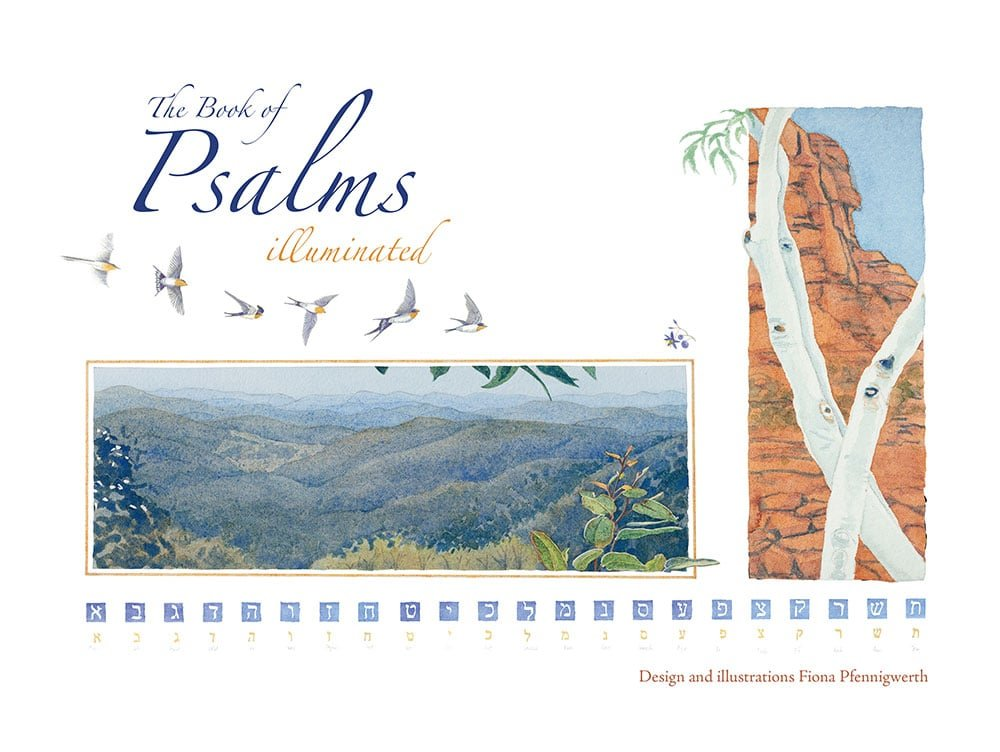 The Book of Psalms cover with landscape image and birds flying across